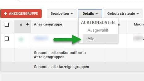 Auktionsdatenbericht  AdWords
